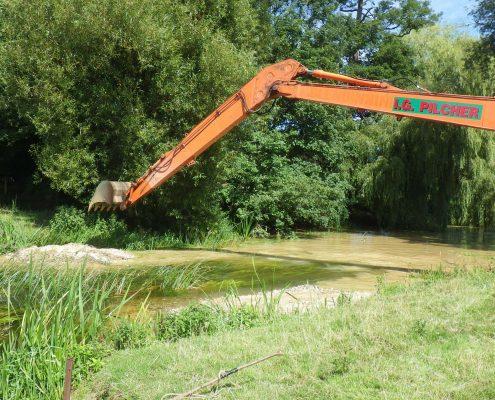 digger doing river work at Godmersham